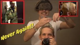 BLINDFOLDED GUY CUTS AND DYES MY HAIR!! (FAIL)